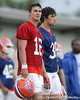 photo by Tim Casey<br /> <br /> John Brantley looks on during the Gators' second day of spring football practice on Friday, March 27, 2009 at the Sanders football practice fields in Gainesville, Fla.
