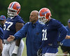 photo by Tim Casey<br /> <br /> Steve Addazio gives instructions during the Gators' second day of spring football practice on Friday, March 27, 2009 at the Sanders football practice fields in Gainesville, Fla.