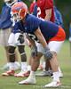 photo by Tim Casey<br /> <br /> Steven Wilks lines up during the Gators' second day of spring football practice on Friday, March 27, 2009 at the Sanders football practice fields in Gainesville, Fla.