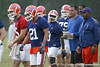 photo by Tim Casey<br /> <br /> Chris Rainey listens to Kenny Carter during the Gators' second day of spring football practice on Friday, March 27, 2009 at the Sanders football practice fields in Gainesville, Fla.