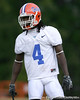 photo by Tim Casey<br /> <br /> Wondy Pierre-Louis lines up during the Gators' second day of spring football practice on Friday, March 27, 2009 at the Sanders football practice fields in Gainesville, Fla.