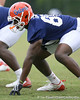 photo by Tim Casey<br /> <br /> Desmond Parks lines up during the Gators' second day of spring football practice on Friday, March 27, 2009 at the Sanders football practice fields in Gainesville, Fla.