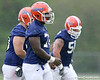 photo by Tim Casey<br /> <br /> Jonotthan Harrison works out during the Gators' second day of spring football practice on Friday, March 27, 2009 at the Sanders football practice fields in Gainesville, Fla.