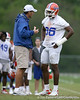 photo by Tim Casey<br /> <br /> Urban Meyer talks with William Green during the Gators' second day of spring football practice on Friday, March 27, 2009 at the Sanders football practice fields in Gainesville, Fla.