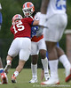 "photo by Tim Casey<br /> <br /> Tim Tebow ""tackles"" Brandon Spikes after an interception during the Gators' second day of spring football practice on Friday, March 27, 2009 at the Sanders football practice fields in Gainesville, Fla."