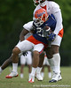 photo by Tim Casey<br /> <br /> Emmanuel Moody works out during the Gators' second day of spring football practice on Friday, March 27, 2009 at the Sanders football practice fields in Gainesville, Fla.