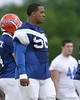 photo by Tim Casey<br /> <br /> Maurkice Pouncey looks on during the Gators' second day of spring football practice on Friday, March 27, 2009 at the Sanders football practice fields in Gainesville, Fla.