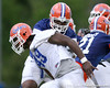 photo by Tim Casey<br /> <br /> Marcus Gilbert blocks Jermaine Cunningham during the Gators' second day of spring football practice on Friday, March 27, 2009 at the Sanders football practice fields in Gainesville, Fla.