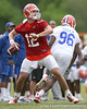 photo by Tim Casey<br /> <br /> John Brantley looks to pass during the Gators' second day of spring football practice on Friday, March 27, 2009 at the Sanders football practice fields in Gainesville, Fla.