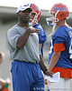 photo by Tim Casey<br /> <br /> Charlie Strong gives instructions during the Gators' first day of spring football practice on Wednesday, March 25, 2009 at the Sanders football practice fields in Gainesville, Fla.