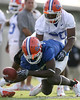 photo by Tim Casey<br /> <br /> Justin Williams drops a pass while covered by Dorian Munroe during the Gators' first day of spring football practice on Wednesday, March 25, 2009 at the Sanders football practice fields in Gainesville, Fla.