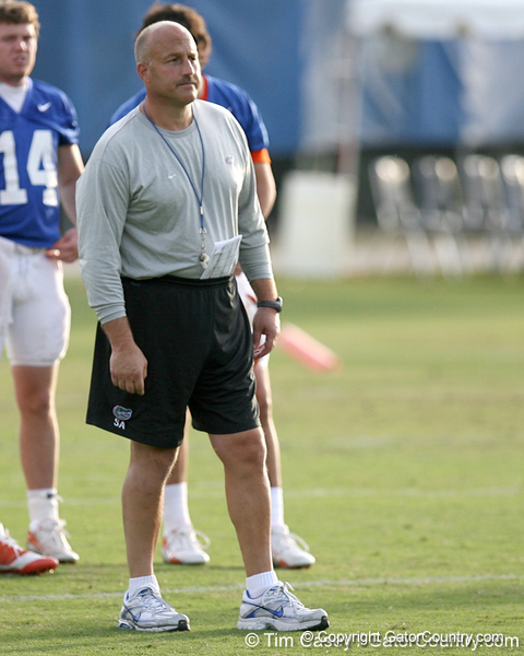 photo by Tim Casey<br /> <br /> New offensive coordinator Steve Addazio watches during the Gators' first day of spring football practice on Wednesday, March 25, 2009 at the Sanders football practice fields in Gainesville, Fla.