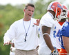 photo by Tim Casey<br /> <br /> Urban Meyer coaches a player during the Gators' first day of spring football practice on Wednesday, March 25, 2009 at the Sanders football practice fields in Gainesville, Fla.