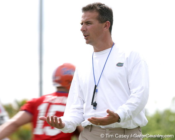 photo by Tim Casey<br /> <br /> Urban Meyer looks on during the Gators' first day of spring football practice on Wednesday, March 25, 2009 at the Sanders football practice fields in Gainesville, Fla.