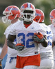 photo by Tim Casey<br /> <br /> Dustin Doe works out during the Gators' first day of spring football practice on Wednesday, March 25, 2009 at the Sanders football practice fields in Gainesville, Fla.