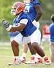 photo by Tim Casey<br /> <br /> James Wilson works out during the Gators' first day of spring football practice on Wednesday, March 25, 2009 at the Sanders football practice fields in Gainesville, Fla.