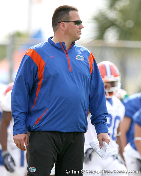 photo by Tim Casey<br /> <br /> Brian White looks on during the Gators' first day of spring football practice on Wednesday, March 25, 2009 at the Sanders football practice fields in Gainesville, Fla.