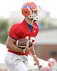 photo by Tim Casey<br /> <br /> Tim Tebow warms up during the Gators' first day of spring football practice on Wednesday, March 25, 2009 at the Sanders football practice fields in Gainesville, Fla.