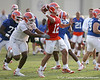 photo by Tim Casey<br /> <br /> John Brantley gets sacked during the Gators' first day of spring football practice on Wednesday, March 25, 2009 at the Sanders football practice fields in Gainesville, Fla.