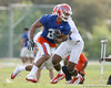 photo by Tim Casey<br /> <br /> Emmanuel Moody works out during the Gators' first day of spring football practice on Wednesday, March 25, 2009 at the Sanders football practice fields in Gainesville, Fla.