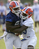 photo by Tim Casey<br /> <br /> Frankie Hammond, Jr. and Ahmad Black work out during the Gators' first day of spring football practice on Wednesday, March 25, 2009 at the Sanders football practice fields in Gainesville, Fla.