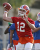 photo by Tim Casey<br /> <br /> John Brantley passes during the Gators' first day of spring football practice on Wednesday, March 25, 2009 at the Sanders football practice fields in Gainesville, Fla.