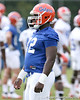 photo by Tim Casey<br /> <br /> Jonottan Harrison works out during the Gators' first day of spring football practice on Wednesday, March 25, 2009 at the Sanders football practice fields in Gainesville, Fla.
