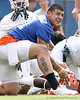 photo by Tim Casey<br /> <br /> Aaron Hernandez warms up during the Gators' first day of spring football practice on Wednesday, March 25, 2009 at the Sanders football practice fields in Gainesville, Fla.