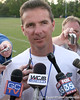photo by Tim Casey<br /> <br /> Florida head coach Urban Meyer speaks to reporters after the Gators' first day of spring football practice on Wednesday, March 25, 2009 at the Sanders football practice fields in Gainesville, Fla.