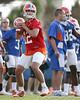 photo by Tim Casey<br /> <br /> John Brantley works out during the Gators' first day of spring football practice on Wednesday, March 25, 2009 at the Sanders football practice fields in Gainesville, Fla.