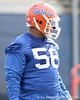 photo by Tim Casey<br /> <br /> Maurkice Pouncey works out during the Gators' first day of spring football practice on Wednesday, March 25, 2009 at the Sanders football practice fields in Gainesville, Fla.