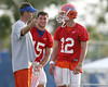 photo by Tim Casey<br /> <br /> Scot Loeffler talks with Tim Tebow and John Brantley during the Gators' first day of spring football practice on Wednesday, March 25, 2009 at the Sanders football practice fields in Gainesville, Fla.