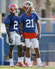 photo by Tim Casey<br /> <br /> Jeff Demps talks with Emmanuel Moody during the Gators' first day of spring football practice on Wednesday, March 25, 2009 at the Sanders football practice fields in Gainesville, Fla.