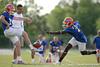photo by Tim Casey<br /> <br /> Justin Williams blocks a punt during the Gators' first day of spring football practice on Wednesday, March 25, 2009 at the Sanders football practice fields in Gainesville, Fla.