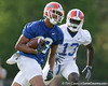 photo by Tim Casey<br /> <br /> David Nelson runs with the ball during the Gators' first day of spring football practice on Wednesday, March 25, 2009 at the Sanders football practice fields in Gainesville, Fla.
