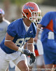 photo by Tim Casey<br /> <br /> Paul Wilson works out during the Gators' first day of spring football practice on Wednesday, March 25, 2009 at the Sanders football practice fields in Gainesville, Fla.