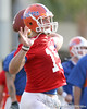 photo by Tim Casey<br /> <br /> Tim Tebow passes during the Gators' first day of spring football practice on Wednesday, March 25, 2009 at the Sanders football practice fields in Gainesville, Fla.