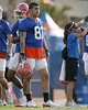 photo by Tim Casey<br /> <br /> Aaron Hernandez works out during the Gators' first day of spring football practice on Wednesday, March 25, 2009 at the Sanders football practice fields in Gainesville, Fla.