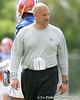 photo by Tim Casey<br /> <br /> Steve Addazio looks on during the Gators' first day of spring football practice on Wednesday, March 25, 2009 at the Sanders football practice fields in Gainesville, Fla.