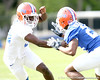 photo by Tim Casey<br /> <br /> Reginald Hopkins works out during the Gators' first day of spring football practice on Wednesday, March 25, 2009 at the Sanders football practice fields in Gainesville, Fla.