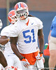 photo by Tim Casey<br /> <br /> Brandon Spikes laughs during the Gators' first day of spring football practice on Wednesday, March 25, 2009 at the Sanders football practice fields in Gainesville, Fla.