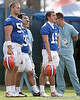 photo by Tim Casey<br /> <br /> John Fairbanks and Caleb Sturgis look on during the Gators' first day of spring football practice on Wednesday, March 25, 2009 at the Sanders football practice fields in Gainesville, Fla.
