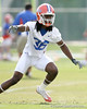 photo by Tim Casey<br /> <br /> Moses Jenkins works out during the Gators' first day of spring football practice on Wednesday, March 25, 2009 at the Sanders football practice fields in Gainesville, Fla.