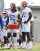 photo by Tim Casey<br /> <br /> Brandon Spikes talks with Earl Okine during the Gators' first day of spring football practice on Wednesday, March 25, 2009 at the Sanders football practice fields in Gainesville, Fla.