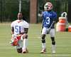 photo by Tim Casey<br /> <br /> Brandon Spikes and Chris Rainey field punts during the Gators' first day of spring football practice on Wednesday, March 25, 2009 at the Sanders football practice fields in Gainesville, Fla.