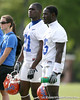 photo by Tim Casey<br /> <br /> Major Wright and Ahmad Black look on during the Gators' first day of spring football practice on Wednesday, March 25, 2009 at the Sanders football practice fields in Gainesville, Fla.