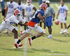 photo by Tim Casey<br /> <br /> Aaron Hernandez runs after making a catch during the Gators' first day of spring football practice on Wednesday, March 25, 2009 at the Sanders football practice fields in Gainesville, Fla.
