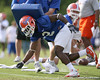 photo by Tim Casey<br /> <br /> Jeff Demps works out during the Gators' first day of spring football practice on Wednesday, March 25, 2009 at the Sanders football practice fields in Gainesville, Fla.