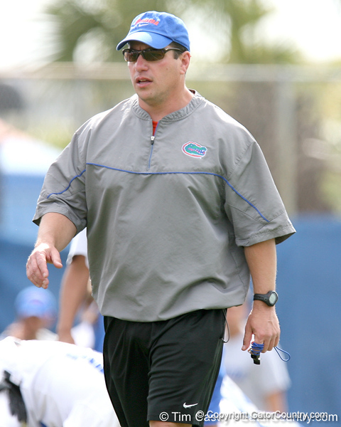 photo by Tim Casey<br /> <br /> Mickey Marotti looks on during the Gators' first day of spring football practice on Wednesday, March 25, 2009 at the Sanders football practice fields in Gainesville, Fla.