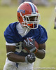 photo by Tim Casey<br /> <br /> Frankie Hammond, Jr. runs with the ball during the Gators' first day of spring football practice on Wednesday, March 25, 2009 at the Sanders football practice fields in Gainesville, Fla.